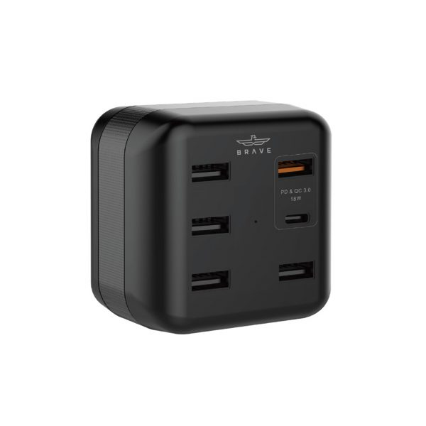 Brave 6 Ports Smart Power Adapter (PD+QC 3.0) 45W