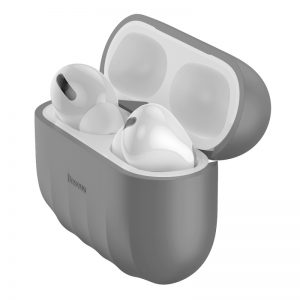 Baseus Shell pattern Silica Gel Case For Pods Pro Grey