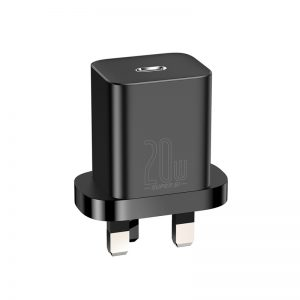 Baseus Super Si Quick Charger 1C 20W EU Sets Black(With Simple Wisdom Date Cable Type-C to iP 1m Black
